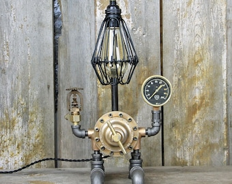 Steampunk Table Lamp with a Brass Regulator- Industrial Desk Lamp #132