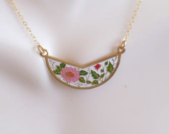 Gold Fill Floral Bib Necklace, Vintage Enamel Flowers Pendant, Layering Necklace, Red Pink Floral Pendant, Minimalist Necklace, Mother's Day