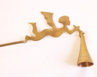 Vintage brass Angel Cherub Candle Snuffer - candle extinguisher
