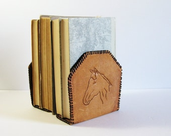 Vintage Leather Bookends - Horse Head Bookends - Tooled Leather Folk Art - Bookshelf Decor - Book Organizers - Equestrian Decor Office Decor