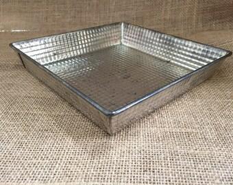 Vintage Baking Pan--Metal Pan--Vintage Ovenex 7 inch Square Pan--Waffle Finish Baking Pan--Upcycled Storage--Decorative Storage