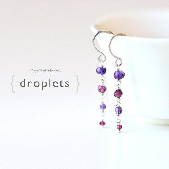 Droplets - Cascading Ombre Dangle Sterling Silver Earrings