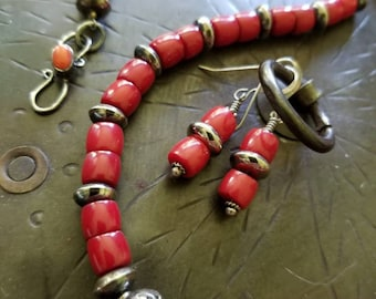 "23"" Genuine Handmade Stunning Southwest Red Rondelle  Coral necklace layered with Sterling Silver Beads and paired with matching earrings"