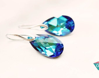 Bermuda Blue Swarovski Earrings, Crystal Drop Earrings, Bermuda Blue Crystal Earrings, Turquoise Earrings, Crystal Blue Earrings