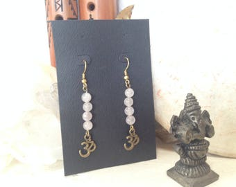 Chakra OM Earrings Rose Quartz Stones