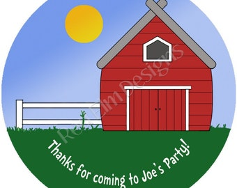 "Farm Stickers - 20 per sheet - 2"" round.  Farm Birthday Party Favors.  2 Inch Round Barn Farm Stickers"