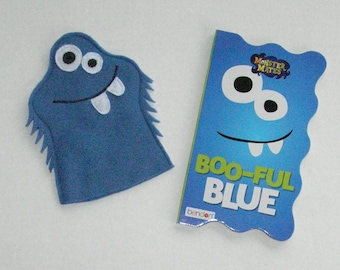 Blue Monster Puppet and Book Set / Felt Monster Hand Puppet / Monster Party Favors
