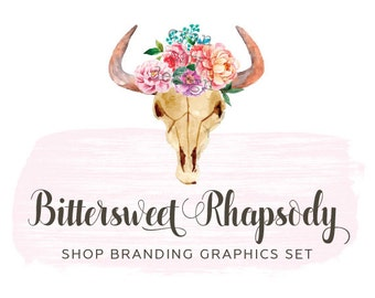 Boho Cow Skull Shop Branding Banners, Avatar Icons, Business Card, Logo Label + More - 13 Premade Graphics Files - BITTERSWEET RHAPSODY