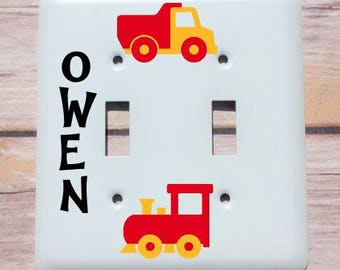 Custom Light Cover, Personalized Baby Gift Light Switch Cover, Custom Baby Boy Switch Plate, Truck Train Boy Gift, Boy Room Decor