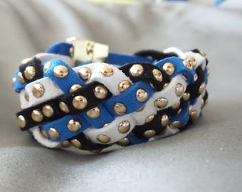 multi strand braided magnetic suede studded Cuff Bracelet