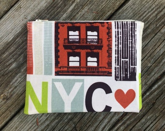 New York Colorblock Zipper Pouch, Make-Up Bag, Cosmetic Case, New York City, NYC Fabric - FREE U.S. SHIPPING