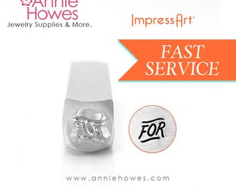 """Fancy """"FOR"""" Word Design Stamp for Metal Jewelry Stamping. Text Marking Stamp. Impressart Fancy """"FOR"""" Stamp."""