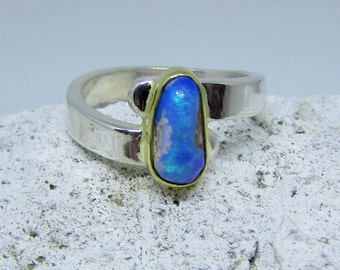 Ring- Boulder Opal in Sterling Silver, 18 K Yellow Gold