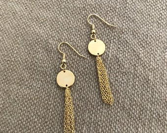 Earrings, dangling, chains, medallion, gold plated, woman