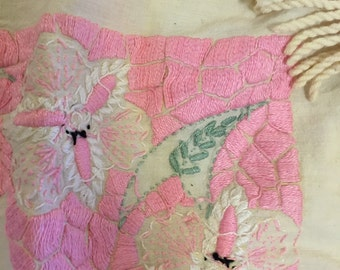 SHABBY EMBROIDERED BEDSPREAD Pink White With Fringe Little Girl's Room, Cottage Chic Shabby Chic Pink, Green Bed Throw at Ageless Alchemy