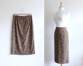 Vintage 1990s Leopard Print Pencil Skirt