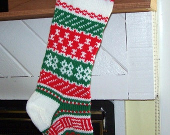 Fair isle hand knit Christmas stocking personalized
