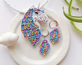 Polymer clay Unicorn jewelry set, multicolor unicorn set, fairy jewelry set, unicorn jewelry, Unicorn gift,Unicorn accessories,unicorn lover
