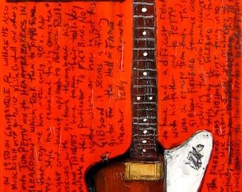 Rock-n-Roll Art | Guitar Art. Tom Petty Gibson Firebird electric guitar art print - 11x17.