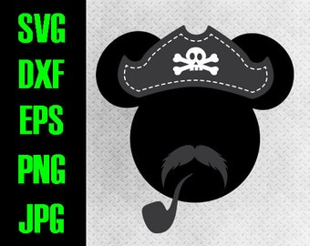 Mickey Pirate - svg, dxf, eps, png, jpg cutting files - cricut, silhouette - iron on paper piecing  Disney Cruise Mustache Mickey design