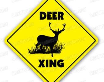 DEER CROSSING Sign new xing buck doe hunter gift