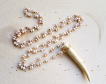 Pink Opal Antler Necklace