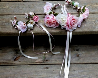 Set of 2 Pet Flower crown floral hair wreath cat and owner engagement photo shoot pink peach bridal wedding puppy halo accessories birthday