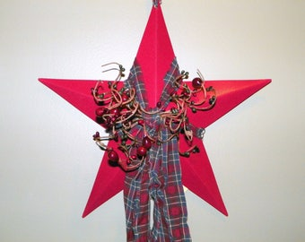 Burgundy 12 Inch Metal Star with Burgundy and Forest Green Pip Berries