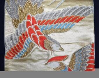 Vintage Japanese Obi Kimono Belt Sash Fukuro Style - Birds of a Feather