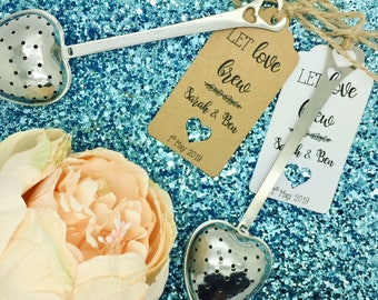 Tea Infuser Heart Shape Wedding Favour With Gift Tag / Label