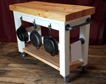 Industrial Farmhouse Kitchen Island, Rolling Cart, Rustic Butcher Block  Wood Top, Steel Pipe