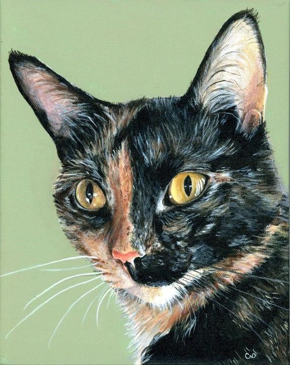 Retrato de gato personalizada 8 10 de acrílico pintura