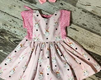 Little Girls Easter Bunny Black or Pink Polka Dot Dress