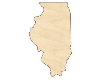 Illinois State Shape - State of Illinois Wooden Shape