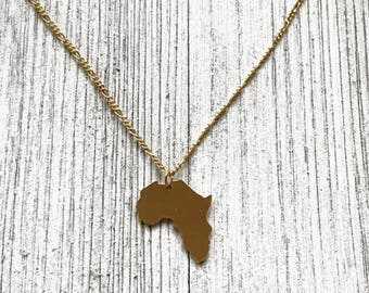 Africa Necklace - Africa Pendant, 18K Gold Filled, Gold Africa Pendant, Gold African Necklace, African Pendant Necklace, African Continent