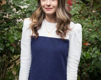 VINTAGE 1990s Leslie Fay Navy Blue Sweater