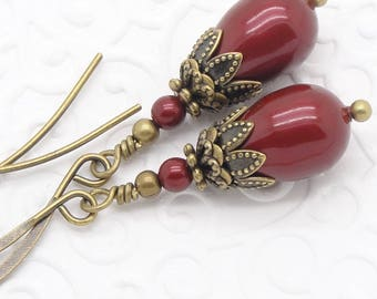 Red Victorian Earrings with Swarovski Pearl Teardrops in Bordeaux Wine Color