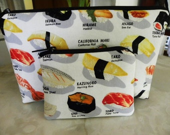 Suchi Cosmetic Bag/Coin Purse Large zipper Sushi Please