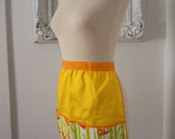 70s Vintage Mod Kitchen Apron  Yellow and Orange with Terrycloth Pocket