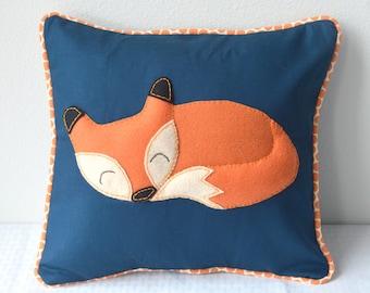 Fox Woodland Forest Pillow Cover Navy Orange Polka Dot Nursery Decor