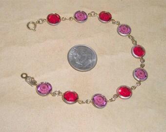 Vintage Swarovski Bracelet With Pink And Red Crystal Stones Bezel Set Stones 1980's Signed Jewelry H30