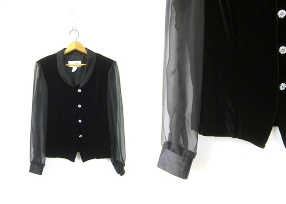 Velvet Top BLACK Blouse SHEER Mesh Sleeves 1990s Shirt New Years Eve Glam Shirt Button Up Vintage Party Clueless Glam size 12 Medium Large