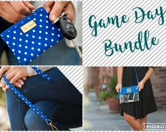 Royal Blue Game Day BUNDLE Purse~Stadium Approved Bag-Clear Game day bag-matching lanyard and ID Case
