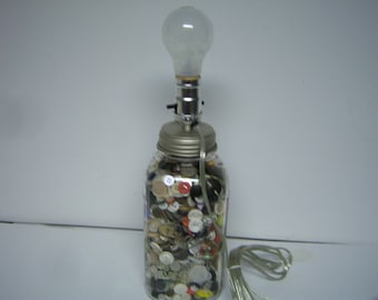 Vintage Button Lamp, Handmade By Me, Sewing Room Lamp, Vintage Ball Mason Half Gallon Jar, Electric Table Lamp