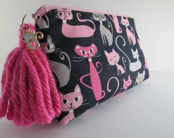 Fancy Cats Zipper Pouch in Pink and Black! Great Gift for Cat Lovers! Make-up Bag , Cosmetic bag, or carry all bag
