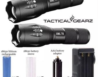 2 Pack Bundle! Military Grade Aluminum LED Flashlights! High Power 1000 Lumen T6 LED! 18650 Rechargeable Battery Kit!