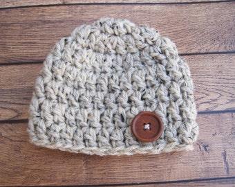 Newborn Beanie, Baby Beanie, Baby Boy Beanie, Newborn Baby Hat, Crochet Baby Hat, Toddler Hat, Childs Hat, Baby Hats for Boys, Oatmeal