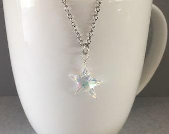 Swarovski crystal necklace, star necklace, swarovski crystal star, star swarovski crystal, star pendant,