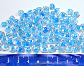 Beads Triangle Aqua Blue and Clear Glass Lot of 98 Loose 9mm by 6mm Wholesale Beading Jewelry Making Supplies DIY Crafts Destash L4