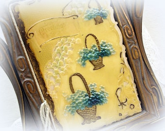 antique celluloid card greetings pierced celluloid baskets of aqua flowers hand painted accents